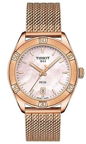 montre femme Tissot PR100 rose gold avec cadran nacre rose