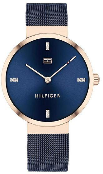 montre femme Tommy Hilfiger bleue avec bracelet en mailles milanaises bleues