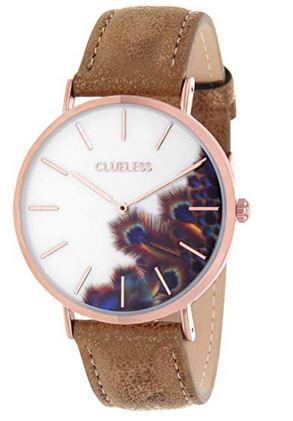 montre femme de la marque Cluess avec un cadran blanc plume de paon et un bracelet en cuir marron clair