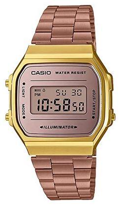 montre femme digitale marque Casio dore et rose modele A168WG 9