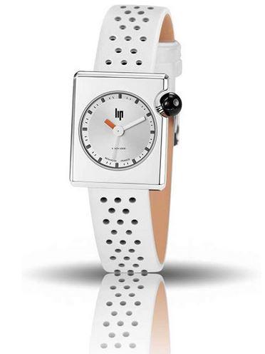 montre femme mach 2000 en cuir blanc de la marque Lip avec boitier carre
