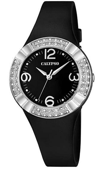 montre femme marque Calypso modele K5659 4 noire incrustee de pierres brillantes