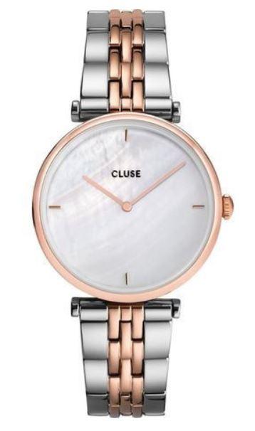 montre femme marque Cluse modele Triomphe rose gold et cadran blanc marbre