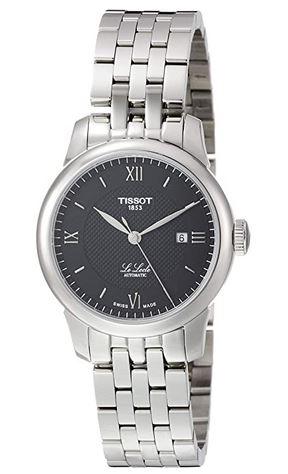 montre femme marque Tissot modele Le locle avec bracelet argente et cadran noir