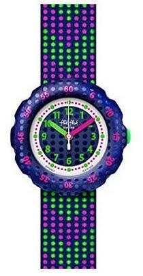 montre fille Flik Flak avec points de couleurs vert et violet modele FPSP037
