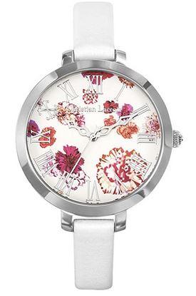 montre fleurie pour femme de Christian Lacroix avec bracelet fin blanc en cuir