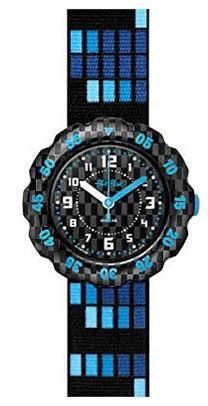 montre garcon marque Flik Flak bleue et noire avec cadran en plastique