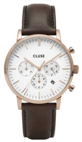 montre homme Aravis chrono leather bracelet en cuir marron et cadran blanc avec boitier dore
