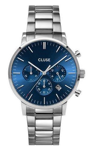 montre homme Aravis chrono steel silver bleu fonce de Cluse