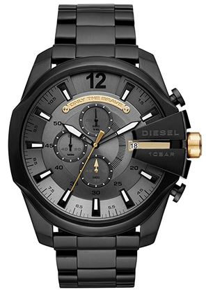 montre homme Diesel bracelet mailles larges en acier et cadran chronographe noir