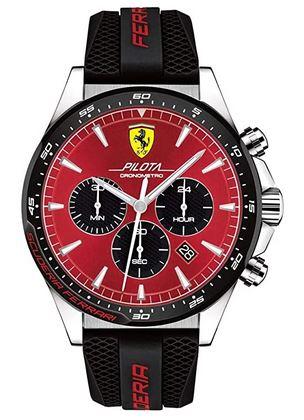 montre homme Ferrari Scuderia noire et rouge avec bracelet en silicone noir