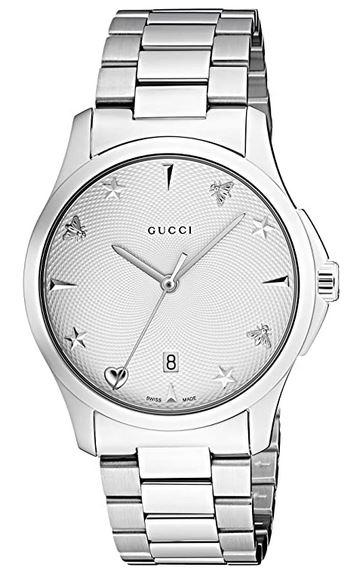 montre homme Gucci YA1264028 en argent et acier inoxydable au cadran blanc nacre