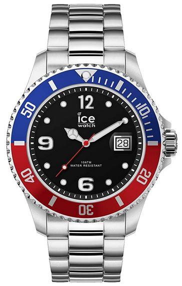 montre homme IceWatch avec boitier bleu et rouge cadran noir et bracelet en acier