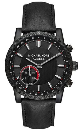 montre homme Michael Kors modele MKT4025 entierement noire avec bracelet en cuir noir