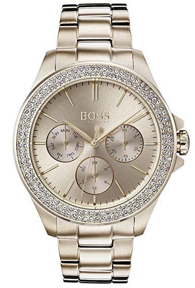 montre hugo boss pour femme multi cadrans dores avec pierres incrustees et bracelet en dore