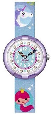 montre licorne bleue de la marque Flik Flak destinee aux petites filles