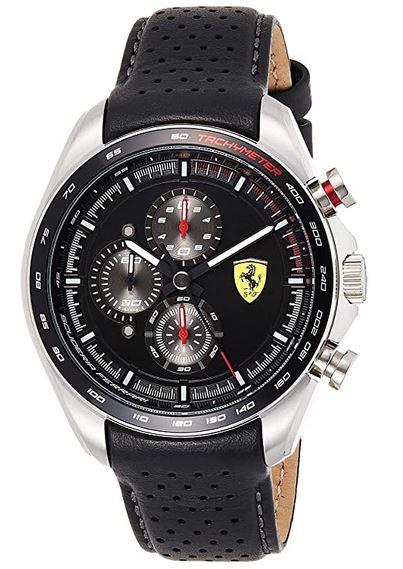 montre masculine Ferrari Scuderia noir avec bracelet en cuir noir perfore
