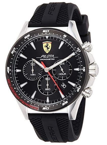 montre masculine Ferrari Scuderia noire avec bracelet de silicone noir