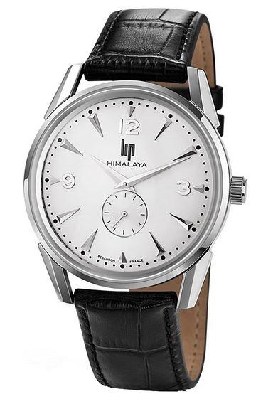 montre masculine Lip himalaya avec bracelet en cuir noir et mecanisme apparent sur cadran blanc