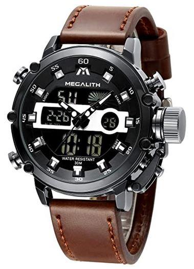 montre masculine Megalith chronographe pas cher avec bracelet en cuir marron