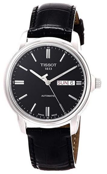 montre masculine classique de couleur noire de la marque Tissot