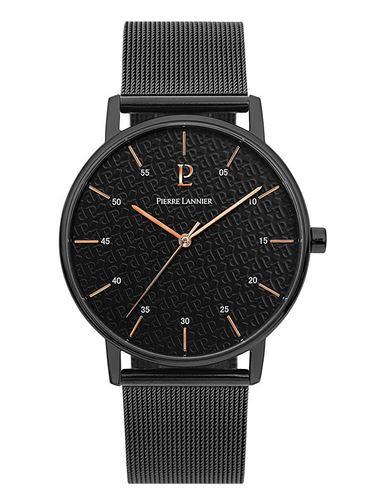 montre masculine de Pierre Lannier avec bracelet en mailles noires fines cadran noir et details rose gold