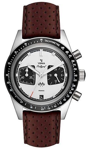 montre masculine de la marque Yema modele Rallygraf cadran blanc bracelet en cuir marron fonce