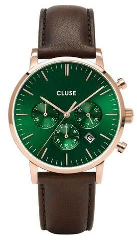 montre masculine de la marque cluse chronographe au cadran vert avec bracelet en cuir marron