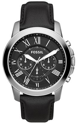montre masculine marque Fossil modele FS4812IE chronographe avec bracelet en cuir noir
