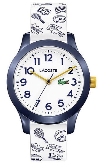 montre mixte blanche et bleu pour enfant de la marque Lacoste