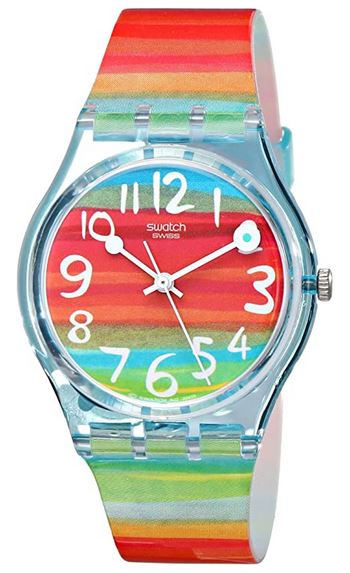 montre multicolore pour femme signee Swatch modele color the Sky GS124
