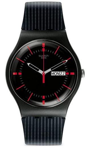 montre noire Swatch pour homme