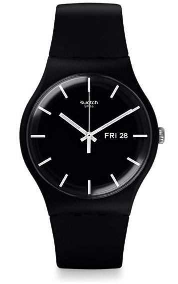 montre noire pour femme de la marque Swatch