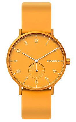 montre orange Skagen pour femme