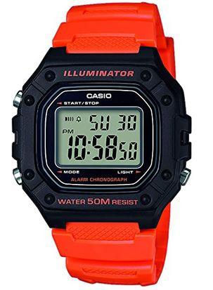 montre pour enfant de la marque Casio avec bracelet en resine rouge et cadran digitale modele W 218H 4B2VEF