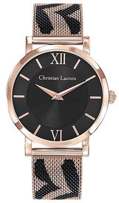 montre pour femme Christian Lacroix cadran noir et bracelet a motif en acier inoxydable