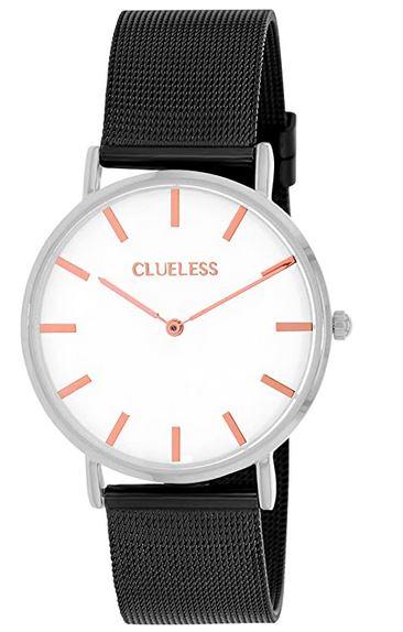 montre pour femme Clueless avec bracelet en maille fine noir cadran blanc et aiguilles rose gold