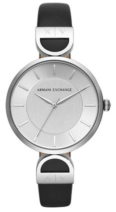 montre pour femme Emporio Armani avec bracelet fin en cuir noir et boiter en acier inoxydable couleur argent