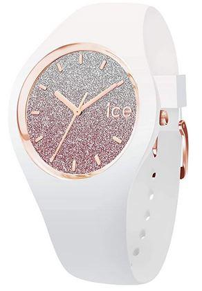 montre pour femme Ice Watch modele Ice Lo White pink bracelet blanc et cadran paillete rose gold