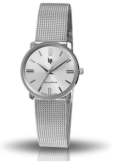 montre pour femme Lip modele Dauphine avec petit cadran en acier inoxydable et bracelet de maille milanaise
