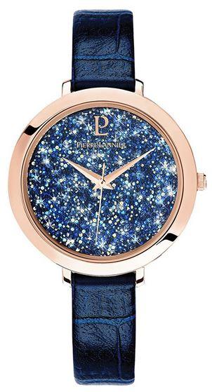 montre pour femme Pierre Lannier avec bracelet en cuir bleu tres fin boitier couleur or rose et cadran etincelant