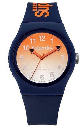montre pour femme Superdry Urban Blue avec un cadran orange et un bracelet bleu