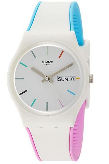 montre pour femme Swatch Smart Watch blanche avec des pointes de violet et bleu cadran blanc avec details multicolors