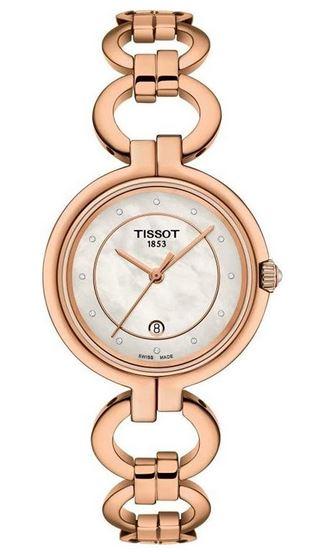 montre pour femme Tissot Flamingo avec petits diamants et bracelet en acier inoxydable rose gold