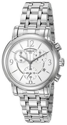 montre pour femme Tissot modele Dressport chronographe argente sur fond blanc
