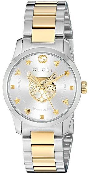 montre pour femme de la marque Gucci avec chat dore modele YA126596