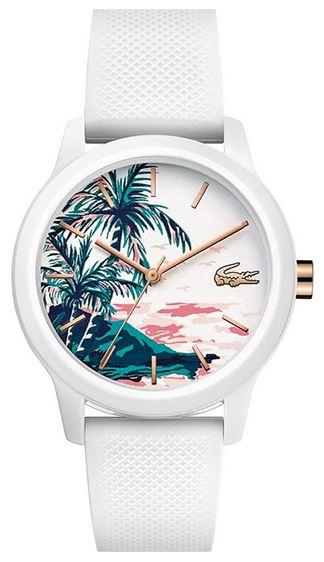 montre pour femme de la marque Lacoste cadran avec dessin de palmier et bracelet blanc