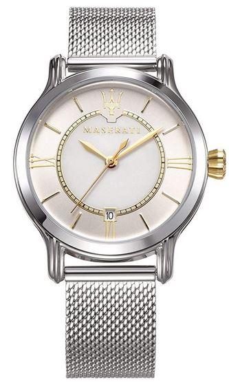 montre pour femme de la marque Maserati collection Epoca en acier inoxydable argente et details dores