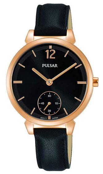 montre pour femme de la marque Pulsar bracelet fin de cuir noir et boitier dore