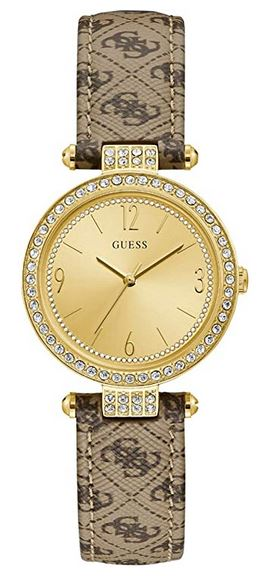 montre pour femme de la marque bracelet en cuir marron clair avec le logo de la marque et cadran dore